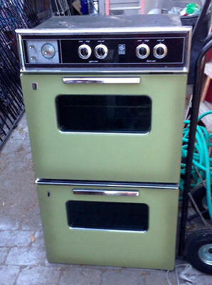 Vintage Avocado 60s 70s GE Wall-mounted Double Electric Oven, Model JC28