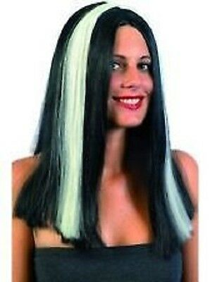 Glow in Dark Vampira wig Halloween Fun Fancy Dress Costume - Adults Party 37991 ()