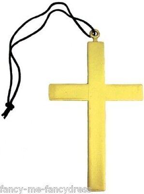Damen Herren Religiöse Nonne Mönch Vikar Goldenes Kreuz Maskenkostüm Halskette