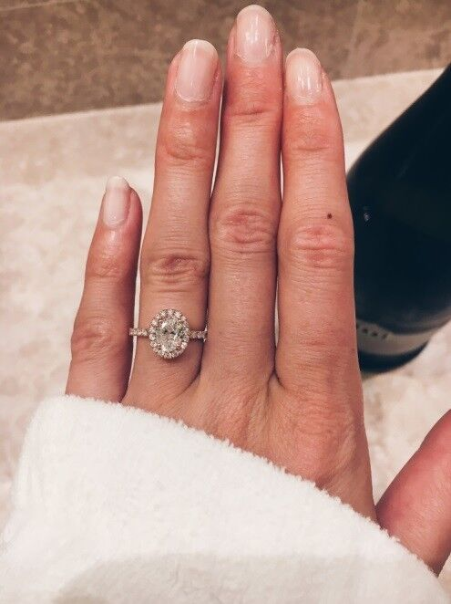 1.70ctw Natural Oval Halo Pave Diamond Engagement Ring - GIA Certified