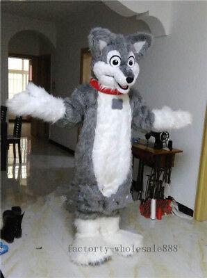 Halloween Grey Wolf Husky Dog Mascot Costume Long Fursuit Cosplay Dress Xmas