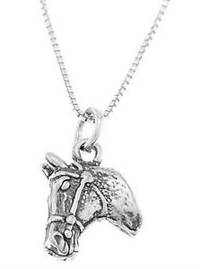STERLING-SILVER-DOUBLE-SIDED-HORSE-HEAD-CHARM-WITH-BOX-CHAIN-NECKLACE