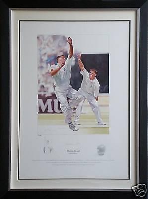 Darren Gough Signed Limited Edition Cricket Print England Display Framed AFTAL