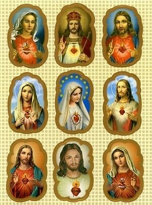 Religiöse Aufkleber Herz Jesu Mariä Jesus Maria 9 Stickers Kommunion AKL 1073