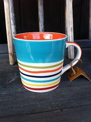 "ChaCult Becher Tasse ""Tinka orange"" Streifen blau bunt Keramik 0,4l extra groß!"