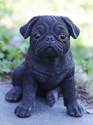 (Sitting BLACK PUG Puppy Dog - Life Like Figurine Statue Home / Garden NEW)