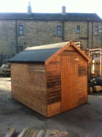 BARGAIN CLEARANCE 7x5 16mm T&G WOODEN APEX SHED DISCOLOURED LAST FEW REMAINING