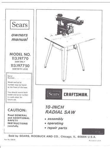 Craftsman Radial Arm Saw Manual Ebay