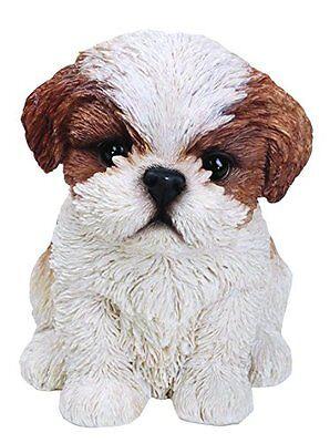 Sitting SHIH TZU Puppy Dog - Life Like Figurine Statue Home / Garden NEW