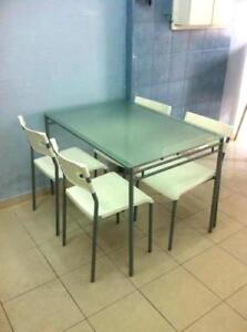IKEA dinning table with metal chairs