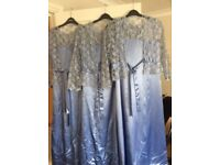 Bridesmaid dresses x 3, cornflower blue. Hand-made - approx sizes 8-10. With matching lace jackets.