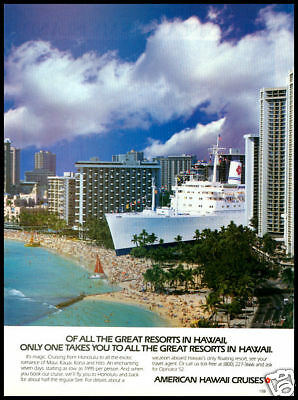 1986 Vintgae Ad For Hawaii America Cruises