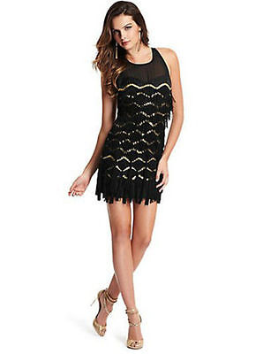 Little Black Dress Halloween (GUESS MARCIANO FRINGE 20's LITTLE BLACK DRESS FLAPPER HALLOWEEN GATSBY PARTY LBD)