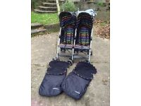 Excellent condition double buggy includeing pair of cosy toes.