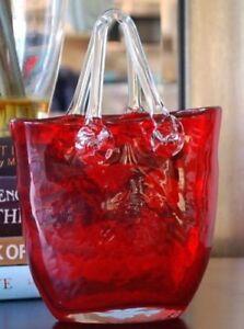 Murano Studio Art Hand Blown Glass Ruby Purse Decorative Piece