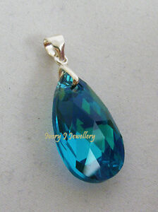 SWAROVSKI-CRYSTAL-Blue-Green-Teardrop-Pendant-925-Sterling-Silver-PENDANT-ONLY
