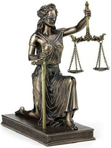 10 Inch Lady Justice Kneeling Holding Scale & Sword (LETTER OPENER) Justicia Rom
