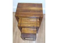 JALI SHEESHAM WOOD NEST OF TABLES 45cm x 30cm x 45cm ROSEWOOD NESTING SET OF 3.* INDIAN OAK