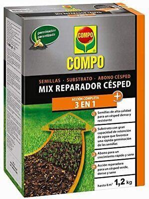 Mix reparador cesped 3 en 1 Semillas, substrato y abono césped 1,2kg...