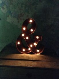 CIRCUS LETTERS WITH LIGHTS, TARNISHED SILVER COLOUR. I HAVE 'C', 'D' AND '&'