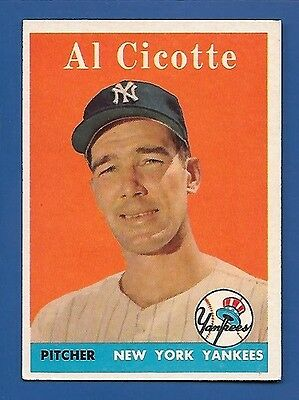 1958 Topps # 382 Al Cicotte - New York Yankees - EX - Additional ship free
