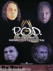 P.O.D. 1999 Elements Of Southtown Original Tour Promo Poster