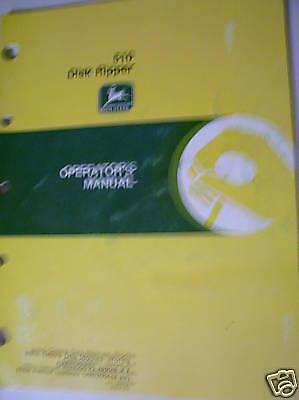 Original John Deere Oper Manual-510 Disk Ripper