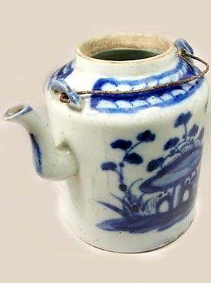 Lg Antique 19thC China Blue + White Ming Style Porcelain Teapot Botanical Motif