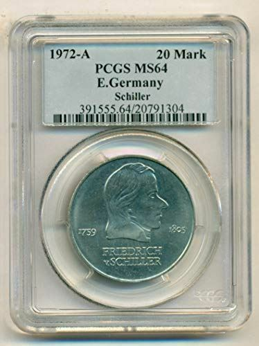 East Germany 1972 A 20 Mark Schiller MS64 PCGS