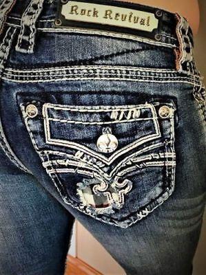NWT New Womens Rock Revival Raven Skinny Jeans 25 26 27 28 29 30 31 32  Reg Long