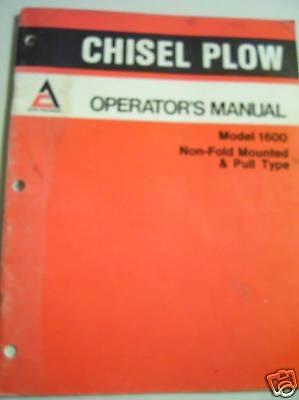 Orig Allis Chalmers Oper Manual 1600 Chisel Plow
