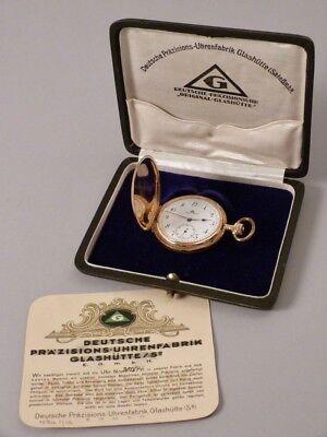 """GOLDSAVONETTE TASCHENUHR 1922 """"Original Glashütte"""" 14 Karat Gold   BOX/GARANTIE"""