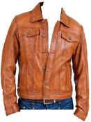 Mens Brown Real Leather Jacket