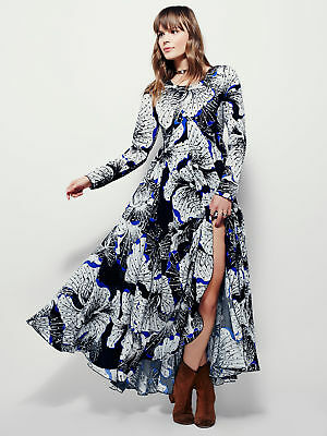 Free People First Kiss Onyx Black Blue White Floral S