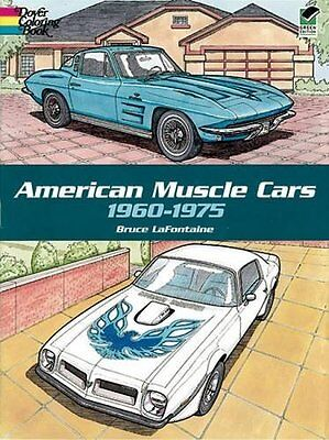 Adult Coloring Book 1960-1975 American Muscle Cars Stress Relief Art Activity