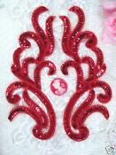 Red Sequin Bead Applique
