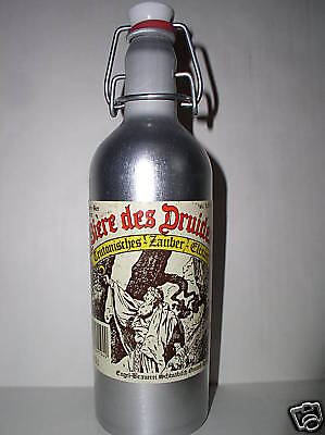 """9""""High Biere des Druides Aluminum Empty Beer bottle made  in Germany Collectible"""
