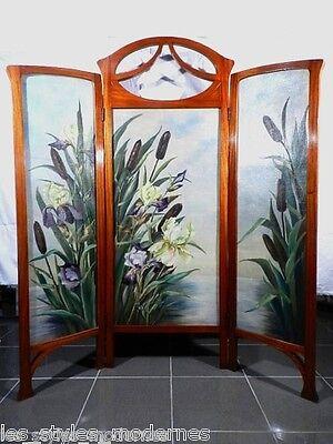 JUGENDSTIL Art Nouveau Holz Ölbild Paravent ° Ecole d' Nancy wohl Jacques Gruber