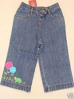 Gymboree Tennis Match Turtle Poppy Flower Blue Jean Pants 12-18 Spring