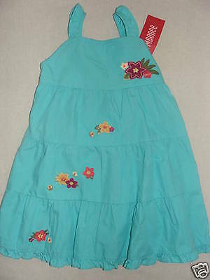 Gymboree Jungle Gem Blue Tropical Flower Tiered Summer Dress 12-18 18-24