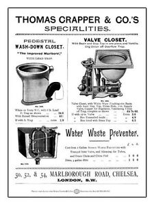 New large THOMAS CRAPPER TOILET enamel style tin metal advertising sign 30x40cm