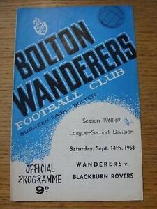 14-09-1968-Bolton-Wanderers-v-Blackburn-Rovers-Score-On-Cover-No-obvious-fau