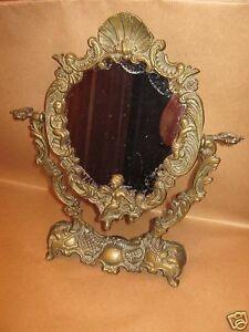 Antico Specchio Da Toilette Cornice In Ottone Anni 30