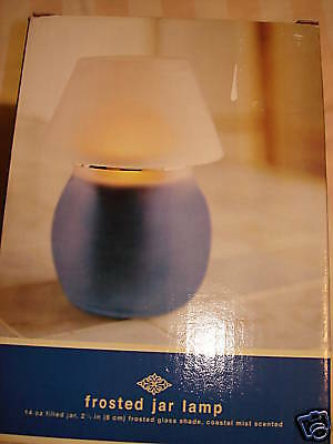 Frosted Glass Jar lamp w/ Caostal mist Scent Candle NEW
