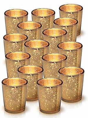 Granrosi Gold Mercury Votive Candle Holder Speckled Gold Finish Mercury Glass