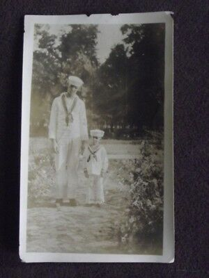 MAN AND YOUNG BOY DRESSED IN MATCHING SAILOR / NAVY OUTFITS Vtg 1920's PHOTO](1920 Outfits For Men)
