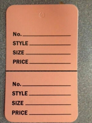 1000 Perforated Tags Price Sale 1 X 2 Two Part Peach Pink Unstrung Tag
