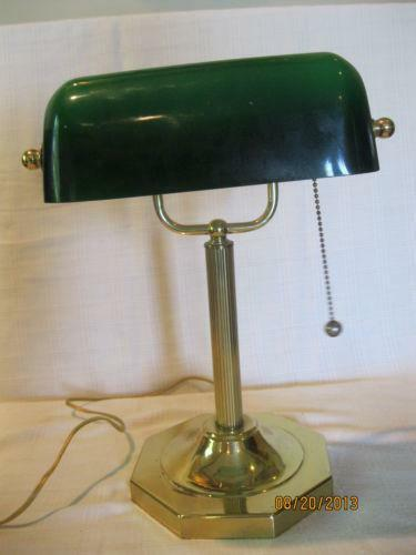 green glass bankers lamp ebay. Black Bedroom Furniture Sets. Home Design Ideas