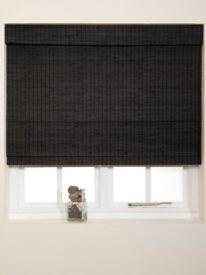 Wooden 180cm x 160cm Roman Blind in Black - New - still in packaging