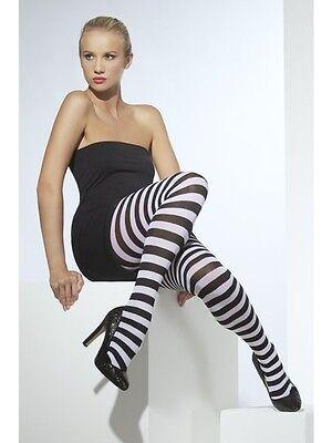 (Womens Girls Sexy Black & White Striped Tights Funky Fashion Club Wear Hosiery)